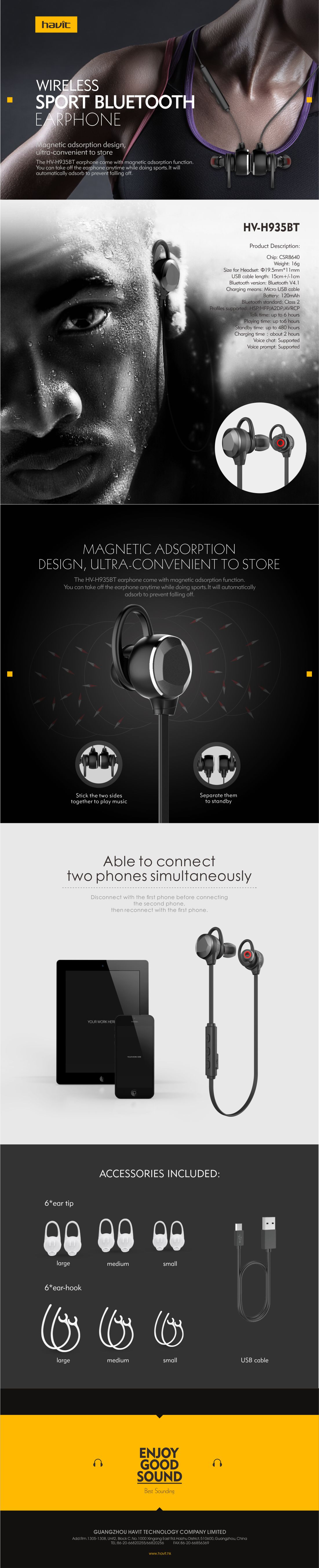 HAVIT® HV-H935BT wireless Sport Stereo Bluetooth Earphone